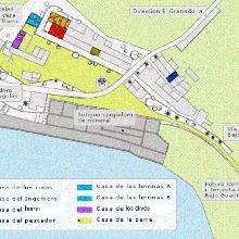 Plano de situación de las casas en el poblado